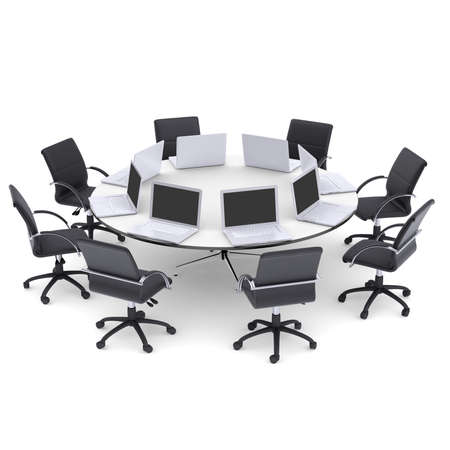 Laptops on the office round table and chairs  Isolated render on a white Stock Photo - 23372316