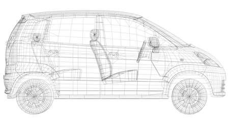 절연 와이어 프레임 자동차는 흰색에 렌더링