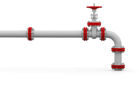 White pipe and valve  Isolated render on a white  Standard-Bild