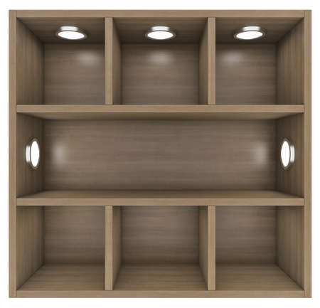 Wooden shelves with built-in lights  Isolated render on a white  photo