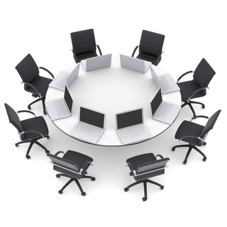round chairs: Laptops on the office round table and chairs  Isolated render on a white background