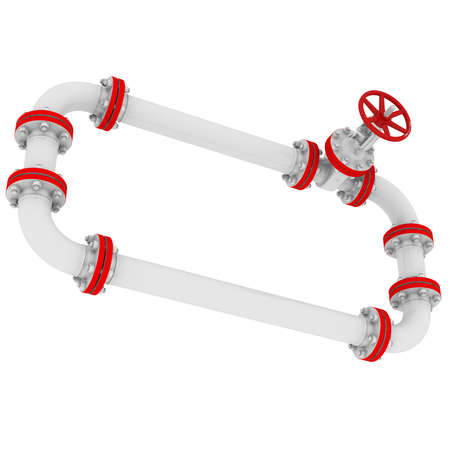 Banner of pipes and valves  Isolated render on a white background photo