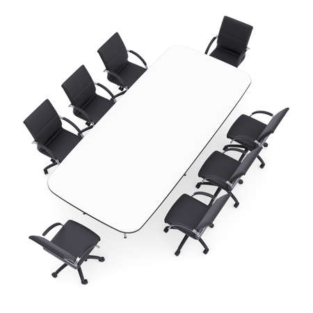 Office chairs and round table  Isolated render on a white background photo