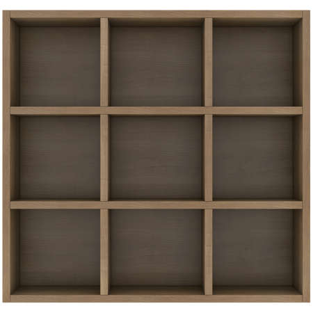 Wooden shelves  3d render isolated on white background photo