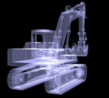 Excavator  X-ray  3d render isolated on a black  photo