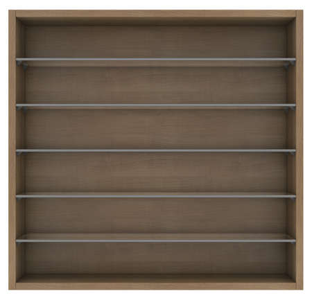 Wooden and glass shelves  Isolated render on a white background photo