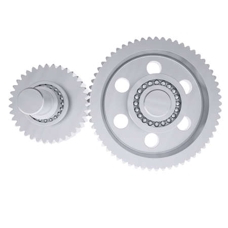 machined: Metal shafts, gears and bearings  3d render isolated on white background
