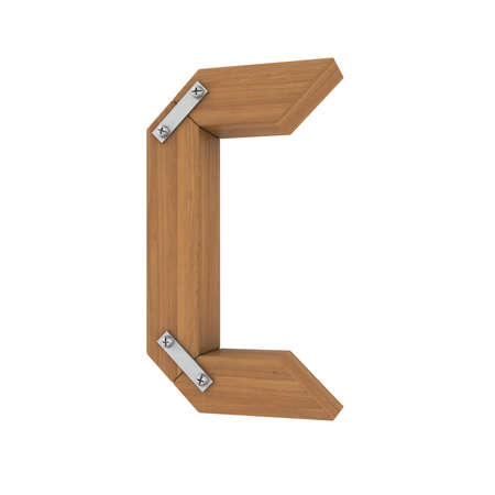 ligneous: Wooden letter C  Isolated render on a white background