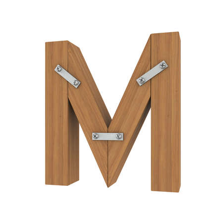 carpentry cartoon: Wooden letter M  Isolated render on a white background