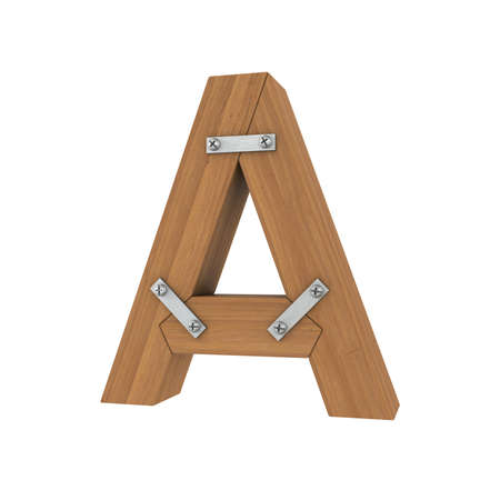 ligneous: Wooden letter A  Isolated render on a white background