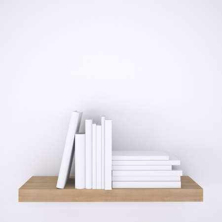 Wooden shelf with books on white wall background  3d render photo