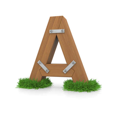 Wooden letter A in the grass  Isolated render with reflection on white background  bio concept photo