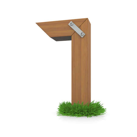 Wooden number seven in the grass  Isolated render with reflection on white background  bio concept photo