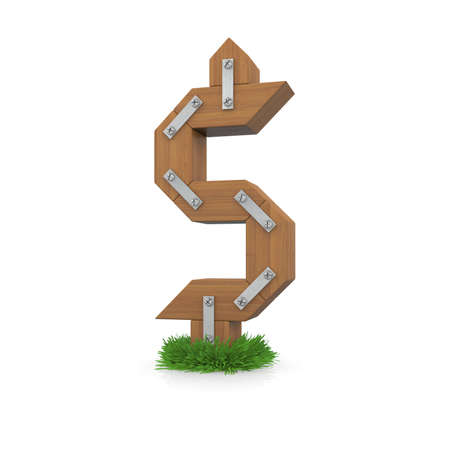 Wooden dollar sign in the grass  Isolated render with reflection on white background  bio concept photo