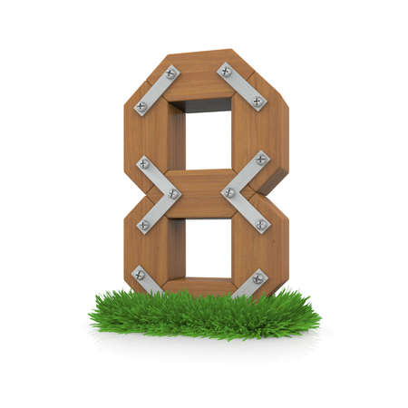 Wooden number eight in the grass  Isolated render with reflection on white background  bio concept photo