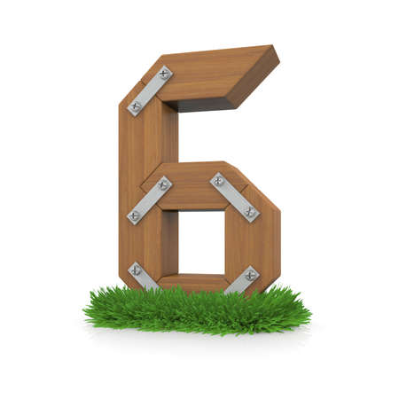 Wooden number six in the grass  Isolated render with reflection on white background  bio concept photo