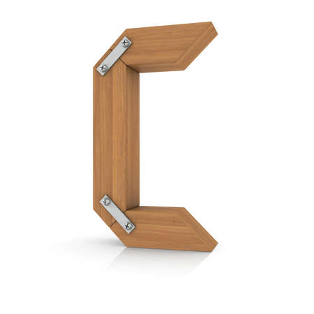 ligneous: Wooden letter C  3d ender on a white background Stock Photo