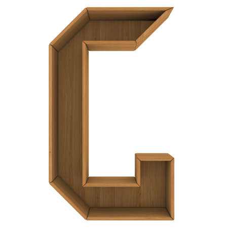 Wooden cabinet-letter  Isolated render on a white background photo
