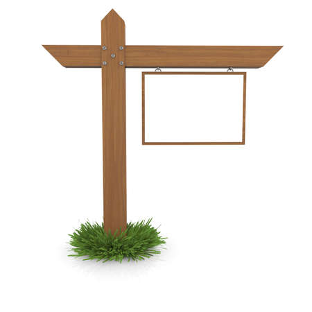 Wooden signboard in the grass  Isolated render on a white background photo