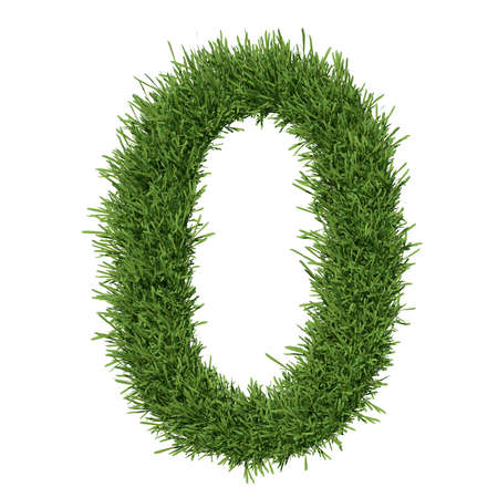 Arabic numeral made of grass  Isolated render on a white background Stock Photo