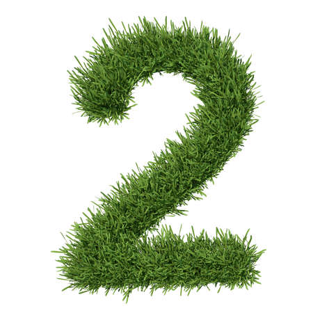 arabic numeral: Arabic numeral made of grass  Isolated render on a white background Stock Photo