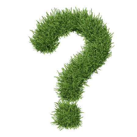 Question mark made of grass  Isolated render on a white background Standard-Bild