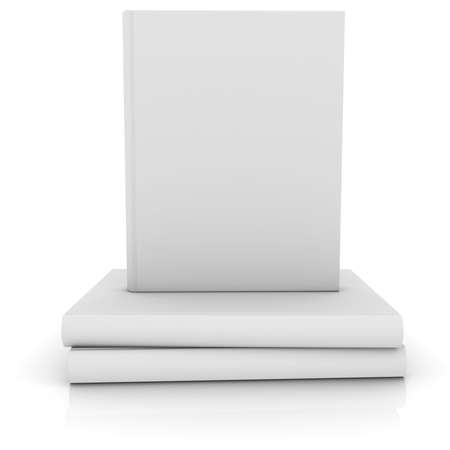 White books  Isolated render on a white
