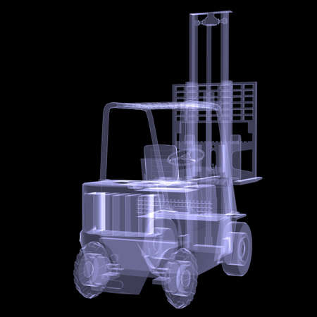 Loader  X-ray  3d render isolated on a black  photo