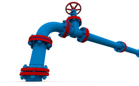 Blue pipe and valve  Isolated render on a white  photo