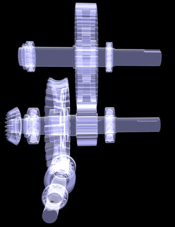 White shafts, gears and bearings  X-ray render isolated on black background photo