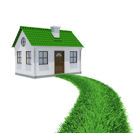 The path of grass leading to a small house  Isolated render on a white background