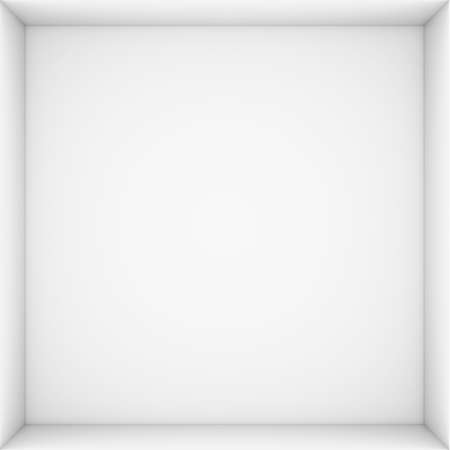 White open box  3d render isolated on white background