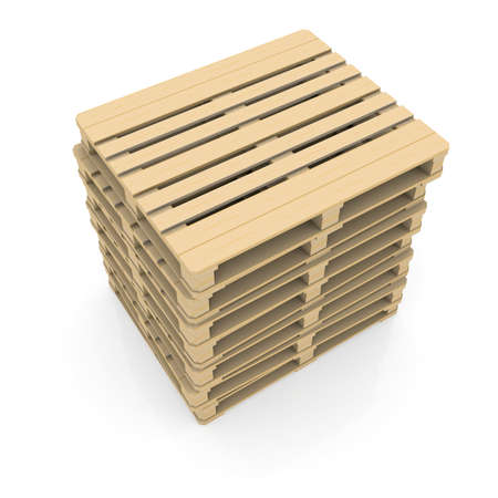 diminishing view: Group wooden pallets  Isolated render on a white