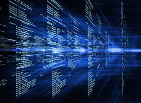 暗い背景のビジネス概念のデジタル コードを輝く