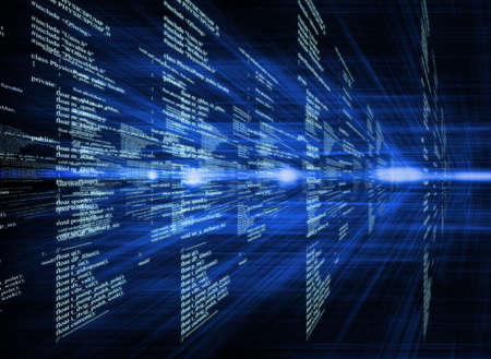 어두운 배경 비즈니스 개념에 디지털 코드를 빛나는 스톡 콘텐츠