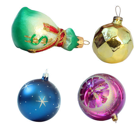 Christmas toys  Isolated on white background  Balls and money bag photo