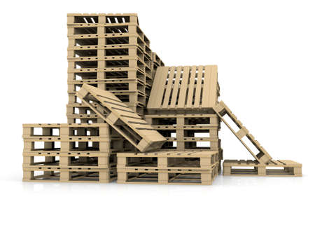 diminishing view: Group wooden pallets  Isolated render on a white background