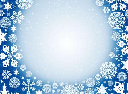 sleet: Christmas frame  White snowflakes on a blue background Stock Photo