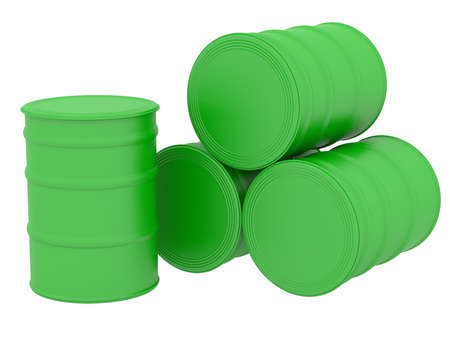 Green barrels natural fuel  3d render isolated on white background Stock Photo - 24136686