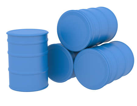 Blue barrels  3d render isolated on white background photo