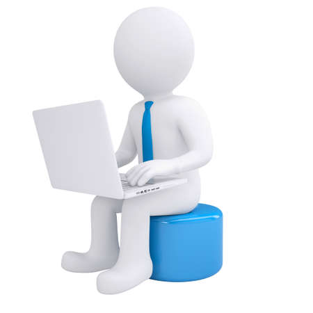 White 3d man working at his laptop  Render on white background Banque d'images
