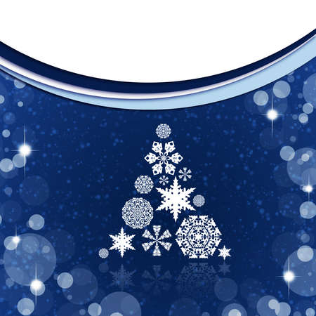 Christmas tree from white snowflakes on blue background photo