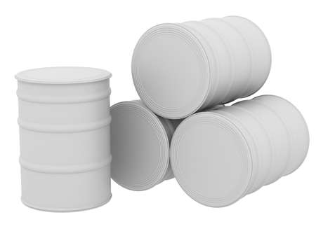 White barrels  3d render isolated on white background photo