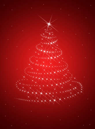 new: Christmas tree from white snowflakes on red background Stock Photo