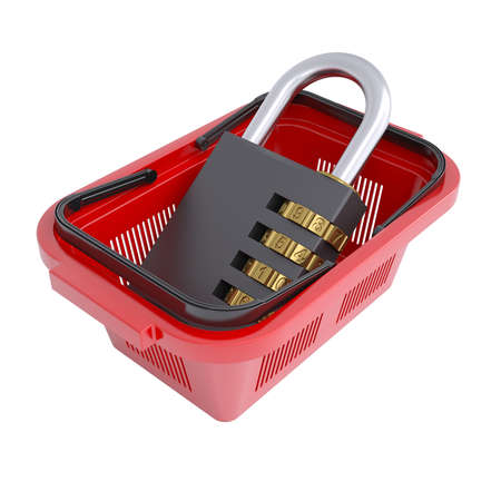 Combination lock in the shopping basket  Isolated render on a white background photo
