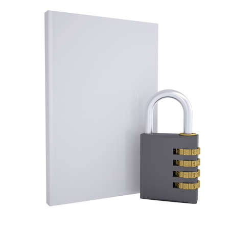 Combination lock and white book  Isolated render on a white background photo