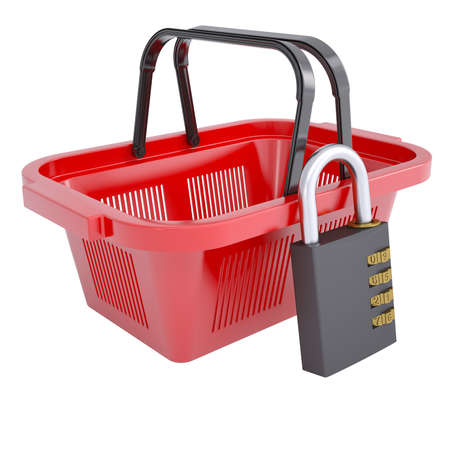 Combination lock and a shopping basket  Isolated render on a white background photo