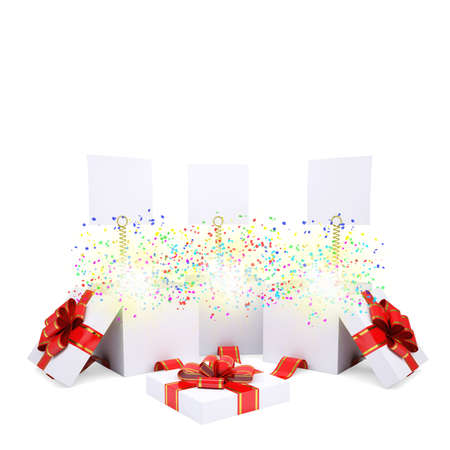 Asterisks fly from the open gift box  Christmas magic gift photo