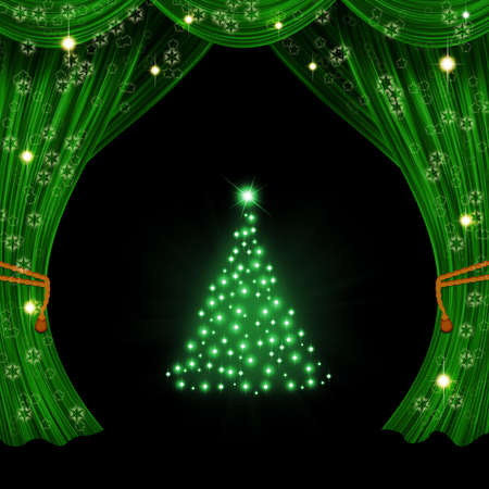 Christmas open curtain  Green fabric, stars, snowflakes and tree Stock Photo - 24435774