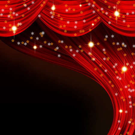 christmas movies: Christmas open curtain  Red fabric, stars and snowflakes